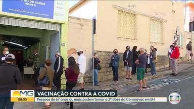 Pessoas de 67 anos ou mais podem tomar a 2ª dose da CoronaVac a partir de hoje em BH - Novos grupos de pessoas com comorbidades também podem ser imunizados.