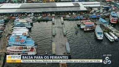 Feirantes da Manaus Moderna devem ser transferidos para uma balsa - Transferência deve ocorrer em até 10 dias.