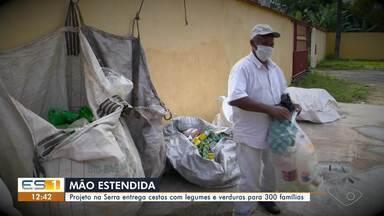 Projeto na Serra, ES, entrega cestas com legumes e verduras para 300 famílias - Assista ao vídeo.