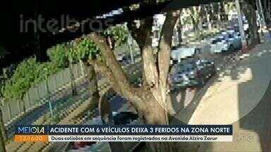 Acidente com 6 veículos deixa 3 pessoas feridas em Maringá - Duas colisões em sequência foram registradas na Avenida Alziro Zarur.