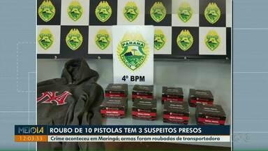 Três pessoas são presas suspeitas de roubar dez pistolas em Maringá - As armas foram roubadas de transportadora.