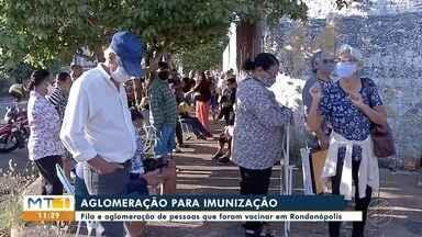Tumulto e aglomeração em posto de vacinação em Rondonópolis - Tumulto e aglomeração em posto de vacinação em Rondonópolis.