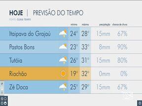 Veja as variações das temperaturas no Maranhão - Confira a previsão do tempo na manhã desta quinta-feira (13) em São Luís e também no interior do estado.
