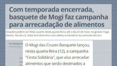 Mogi Basquete lança campanha de arrecadação de alimentos não perecíveis até 25 de maio - Os alimentos podem ser entregues no Ginásio Hugo Ramos, de segunda a sexta-feira, das 9h às 12h e, no período da tarde, das 14h até 17h.