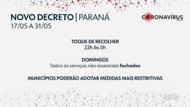 Paraná tem um novo decreto para conter o avanço do coronavírus no estado - Pelas novas regras, a restrição da circulação de pessoas e de venda e consumo de bebida alcoólica em espaços de uso público ou coletivo é estendida em uma hora.