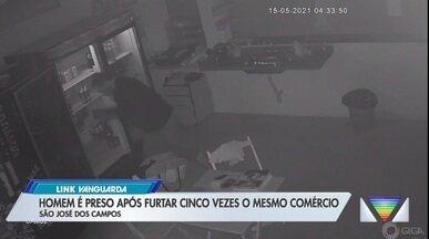 Homem é preso após furtar cinco vezes o mesmo comércio em 15 dias - Homem invadiu cinco vezes o comércio entre os dias 2 e 16 de maio. Ele foi flagrado pelas câmeras de segurança do local e proprietário conseguiu acionar a polícia.
