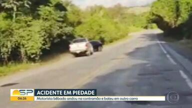 Motorista bêbado andou na contramão e bateu em outro carro, no interior de SP - Acidente foi na rodovia SP-79, na cidade de Piedade.