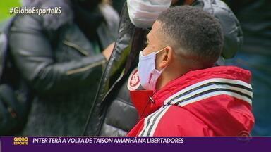 Mirando jogo da Libertadores, Inter conta com o retorno de Taison ao time titular - O Inter recebe o Always Ready na noite desta quarta-feira (26).