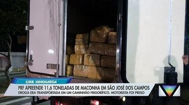 Apreensão de 11,6 toneladas de maconha em São José é a maior da história na Dutra - Droga era transportada em um caminhão frigorífico e foi apreendida no trecho de São José dos Campos. Motorista foi preso em flagrante.