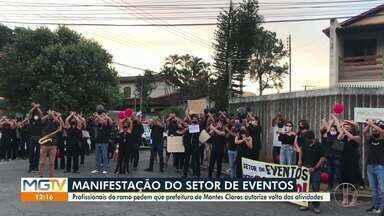 Profissionais do setor de eventos fazem protesto em Montes Claros - Eles cobram retorno das atividades.