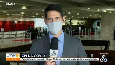 Secretária de Saúde Mayra Pinheiro, presta depoimento em Brasília - Secretária de Saúde Mayra Pinheiro, presta depoimento em Brasília.