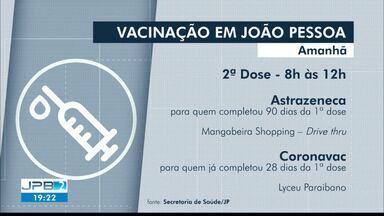 Vacinação em João Pessoa segue nesta quarta-feira (26) com primeira dose - Serão dois locais de vacinação na cidade.