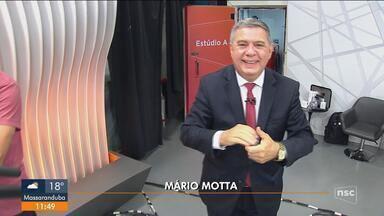 Mário Motta retorna aos estúdios da NSC TV após imunização contra a Covid-19 - Mário Motta retorna aos estúdios da NSC TV após imunização contra a Covid-19