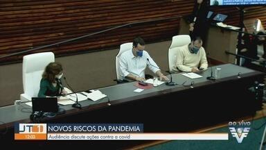 Audiência pública na Câmara de Santos discute ações contra a Covid-19 - Autoridades estão preocupadas com 3ª onda e agravamento da pandemia na região.