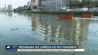 Programa faz limpeza do Rio Pinheiros - Expectativa é melhorar a qualidade da água e integrar o rio à cidade.