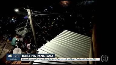 Festa clandestina é interrompida pela PM e retomada com a saída dos militares - Moradores do bairro Cachoeirinha, em Belo Horizonte, dizem que aglomerações são frequentes na região.