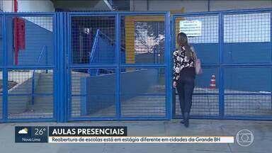 Volta às aulas presenciais está em estágios diferentes em cidades da Região Metropolitana - Prefeitura de Betim autorizou a retomada das atividades presenciais em 2 escolas particulares do município. Na rede pública ainda não há previsão.