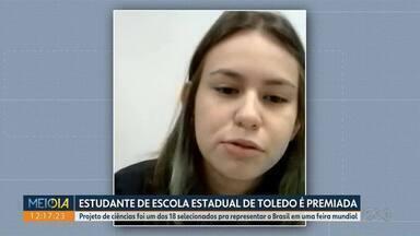 Estudante de escola estadual de Toledo é premiada - Projeto de ciências foi um dos 18 selecionados pra representar o Brasil em uma feira mundial.
