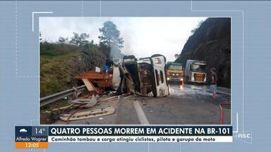 Quatro pessoas morrem em acidente na BR-101 em Balneário Camboriú - Quatro pessoas morrem em acidente na BR-101 em Balneário Camboriú