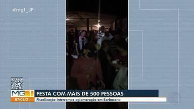 Festa com aglomeração é interrompida em Barbacena - O evento ilegal desrespeitou as regras sanitárias e reuniu mais de 500 pessoas.