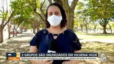3 grupos são imunizados em Vilhena hoje contra a Covid-19 - Profissionais da educação, moradores com 59+ e pilotos de avião se vacinam hoje.