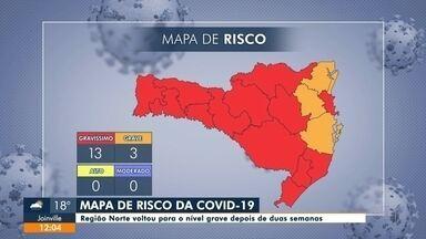 """Joinville volta para o nível """"grave"""" no mapa de risco de SC - Joinville volta para o nível """"grave"""" no mapa de risco de SC"""