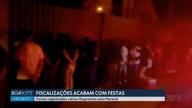 Fiscalizações acabam com festas durante feriado - Foram registrados vários flagrantes pelo Paraná.