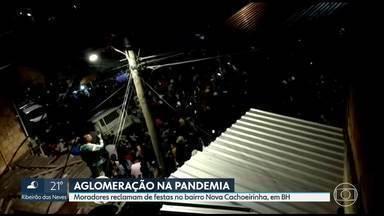 Moradores reclamam de festas no bairro Nova Cachoeirinha, em BH - Houve registro de aglomeração durante o fim de semana, com muitas pessoas sem máscaras.