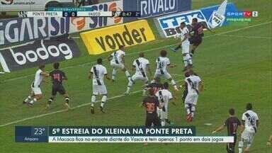 Na reestreia de Kleina, Ponte Preta fica no empate com Vasco pela Série B - Macaca saiu atrás, mas conseguiu buscar o empate em jogo disputado no Moisés Lucarelli, em Campinas.