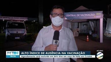 Agendamento para vacina em Cuiabá será cancelado em 2 dias em caso de ausência no dia marc - Agendamento para vacina em Cuiabá será cancelado em 2 dias em caso de ausência no dia marcado.