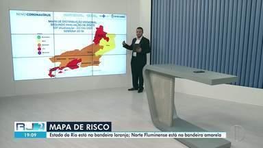 Bandeira amarela no mapa de risco indica que números da pandemia em Campos estão estáveis - Em compensação, o Noroeste ainda está no vermelho, situação de risco alto. No momento, apenas Miracema está na cor roxa.