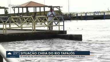Rio Tapajós apresenta queda no nível após chegar a 8,04 metros em Santarém - Defesa Civil tem feito monitoramento.