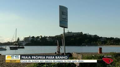Praia da Curva da Jurema, em Vitória, está própria para banho após obras - Assista a seguir.