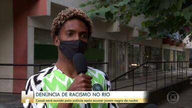 Polícia vai ouvir casal denunciado por racismo no Rio - Mariana Spinelli e Tomás Oliveira abordaram jovem negro que esperava namorada em frente a shopping, e o acusaram de ter roubado a própria bicicleta
