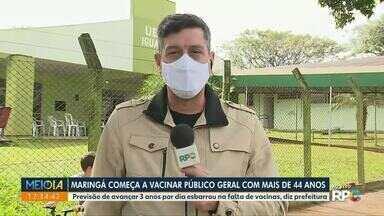 Veja como está a vacinação contra a Covid em Maringá - Maringá está imunizando moradores a partir de 44 anos.