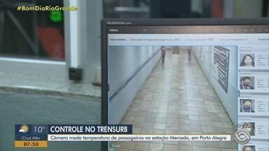 Câmera mede temperatura de passageiros na estação mercado da Trensurb, em Porto Alegre - Assista ao vídeo.