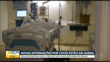 Novas internações pela Covid-19 estão em queda - Mas, junho terminou como o mês com mais casos confirmados da doença