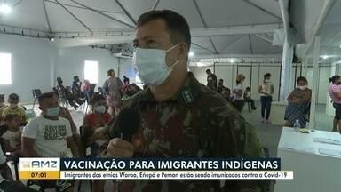 Imigrantes das etnias Warao, Eñepá e Pemon são imunizados contra a Covid-19 em RR - Vacinação para imigrantes indígenas no estado.