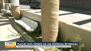 Placas dos túneis da Via Expressas são retiradas de forma irregular - Saiba mais em: g1.com.br/ce