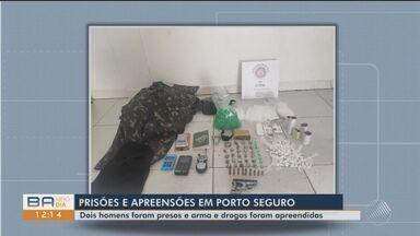 Dois são presos com armas e drogas em Porto Seguro, extremo sul do estado - Polícia chegou até o local após denúncia de festa com aglomeração.