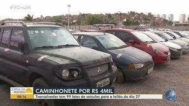 Mais de 90 carros apreendidos serão leiloados em Salvador; veja como participar - Entre os veículos que serão leiloados, estão uma Pajero, com lance mínimo de R$ 4 mil, e um Renault Duster, por R$ 5 mil.