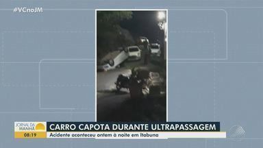 Carro capota após fazer ultrapassagem proibida em Itabuna, no sul da Bahia - Caso ocorreu na terça-feira (20). Não há informações sobre feridos.