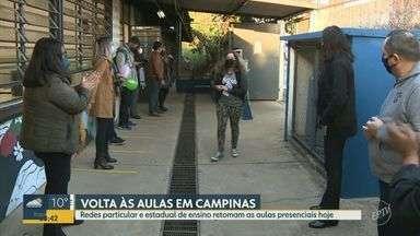 Rede particular e estadual de ensino retomam aulas presenciais em Campinas - Escolas voltam a receber, sem limite de ocupação, os alunos partir desta segunda-feira (2).