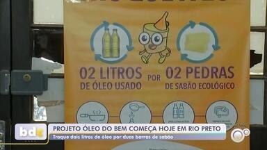 """Projeto troca óleo de cozinha usado por barras de sabão em Rio Preto - Começa nesta segunda-feira (9), em São José do Rio Preto (SP), o Projeto """"Óleo do Bem"""", que troca litros de óleo de cozinha usado por barras de sabão para limpeza doméstica."""