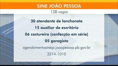 Veja as 138 vagas disponíveis no Sine João Pessoa de 9 a 13 de agosto - Maior número de vagas disponíveis é para atendente de lanchonete, com 30 vagas.