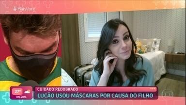Esposa de Lucão fala sobre marido seguir usando máscara durante os jogos - Bia conta que atleta decidiu usar máscara por conta do filho mais velho que tem bronquite e também por ter uma bebê de apenas 2 meses