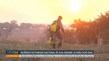 Incêndio no Parque Nacional de Ilha Grande já dura dois dias - Bombeiros trabalham no combate ao fogo e no monitoramento da direção das chamas.