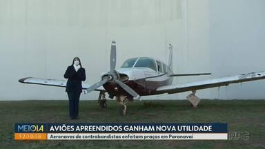 Aviões apreendidos ganham nova utilidade - Aeronaves de contrabandistas enfeitam praças em Paranavaí.