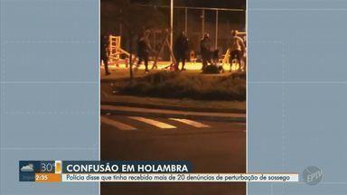 Vídeo mostra confusão na Praça dos Imigrantes, em Holambra - Imagens foram gravadas na noite de domingo (8).