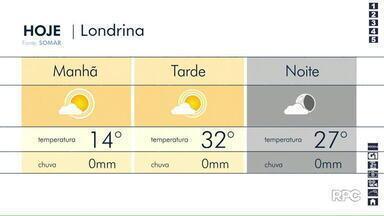 Terça-feira (10) deve ser ensolarada em Londrina - A temperatura deve ficar entre 16 e 33 graus.